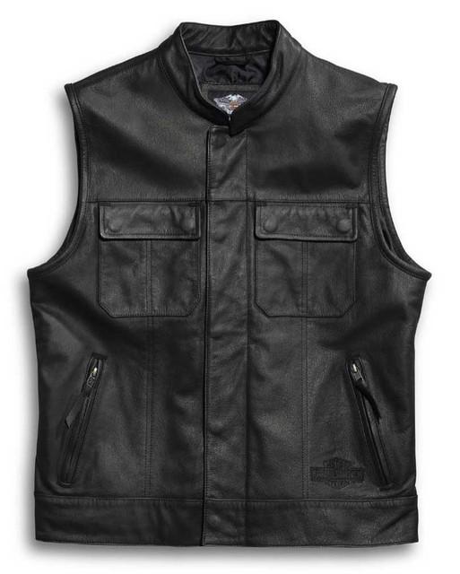 Harley-Davidson Men's Leather Vest, Foster Reflective, Black 98090-15VM - Wisconsin Harley-Davidson