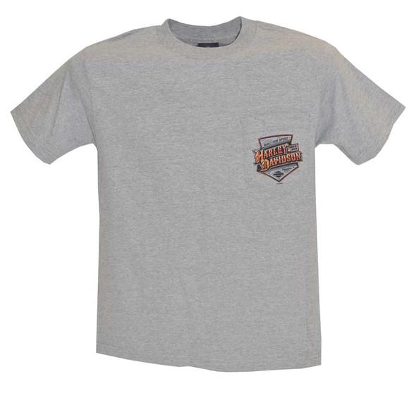 Harley-Davidson Men's T-Shirt, Crest Type Chest Pocket Tee, Gray 30291815 - Wisconsin Harley-Davidson