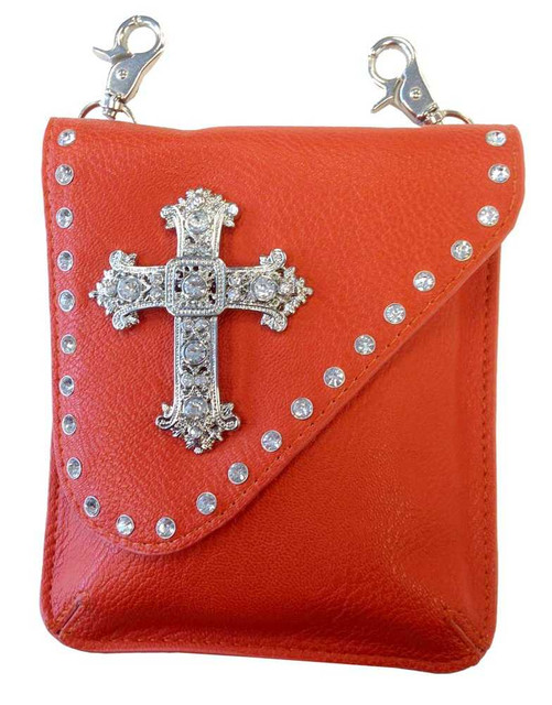 That's A Wrap Women's Asymmetrical Orange Cross Belt Bag, Leather. 98147-Orange - Wisconsin Harley-Davidson