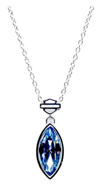 Harley-Davidson Women's Light Sapphire Crystal Marquise Necklace HDN0325-18 - Wisconsin Harley-Davidson