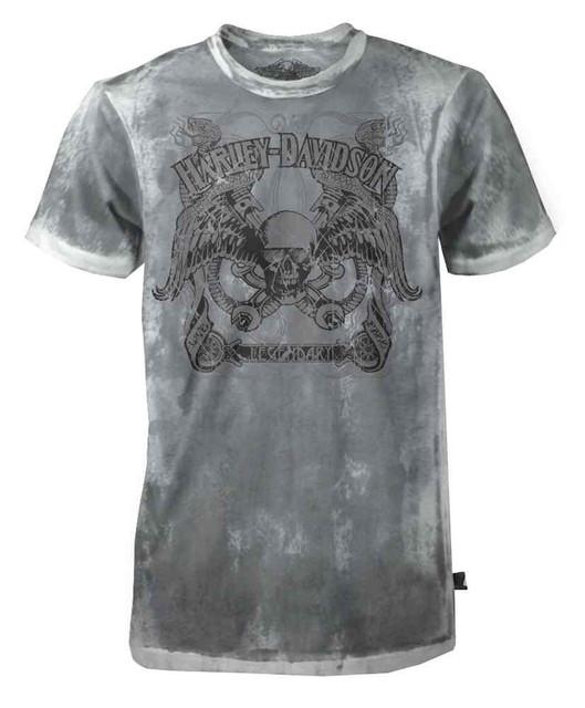 Harley-Davidson Men's Black Label Washed T-Shirt, Legendary Serpent Skull, Gray - Wisconsin Harley-Davidson