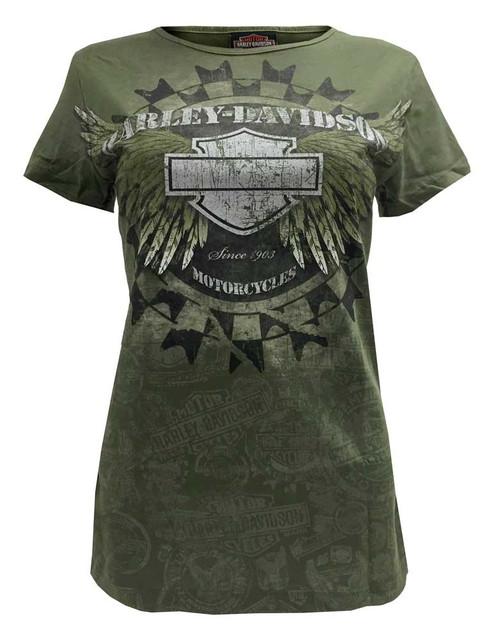 Harley-Davidson Women's Tee, Widespread Metallic Ink Wings, Military Green - Wisconsin Harley-Davidson