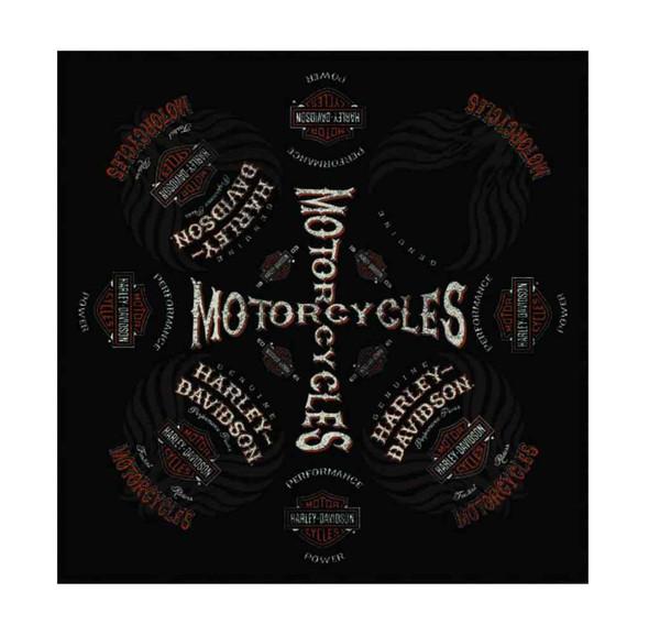 Harley-Davidson Men's Bandana, Performance Power Bar & Shield, Black BA02680 - Wisconsin Harley-Davidson