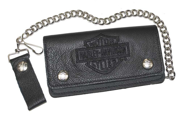 Harley-Davidson Men's Embroidered Bar & Shield Biker Chain Wallet BLK BW808H-2B - Wisconsin Harley-Davidson