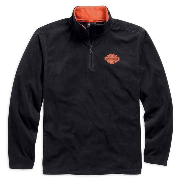 Harley-Davidson Men's 1/4-Zip Long Sleeve Logo Fleece Pullover 99001-15VM - Wisconsin Harley-Davidson