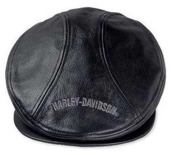 Harley-Davidson Men's Nostalgic Trademark Leather Ivy Cap 99561-04V - Wisconsin Harley-Davidson