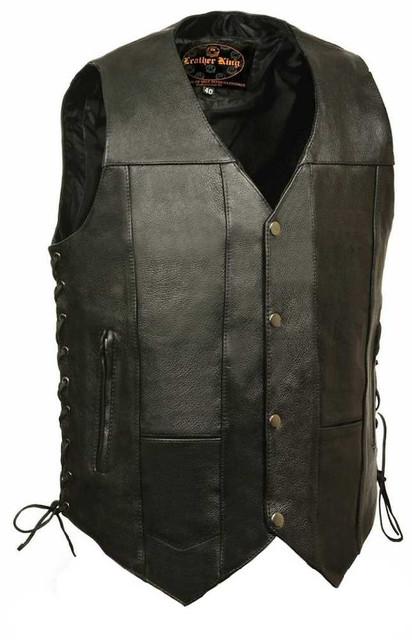 Leather King Men's 10 Pocket Side Lace Vest SH1391 - Wisconsin Harley-Davidson