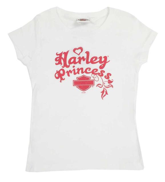 Harley-Davidson Big Girls' Youth Glitter Princess Short Sleeve T-Shirt, White - Wisconsin Harley-Davidson