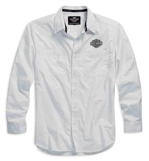 Harley-Davidson Men's Logo Woven Long Sleeve Shirt, White. 99012-15VM - Wisconsin Harley-Davidson