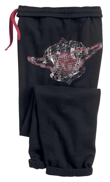 Harley-Davidson Women's Winged Bar & Shield Fleece Sleep Pants, 96309-15VW - Wisconsin Harley-Davidson