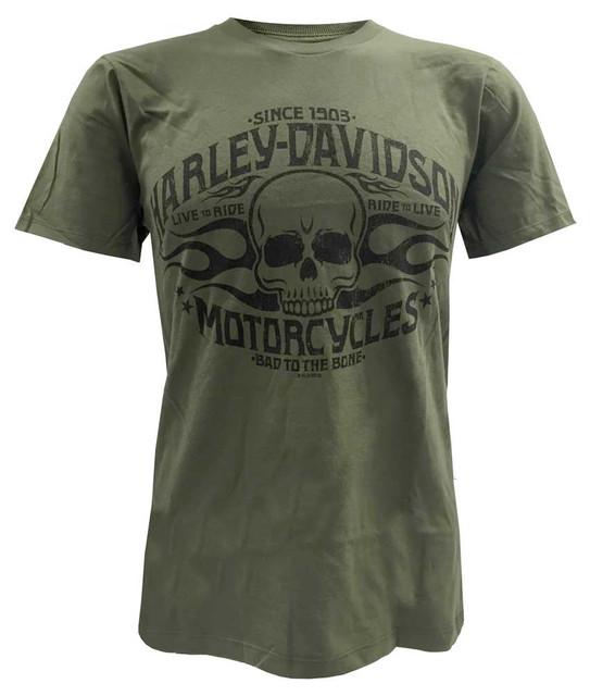 Harley-Davidson Men's Bad To The Bone Flaming Skull Short Sleeve Tee, Green - Wisconsin Harley-Davidson