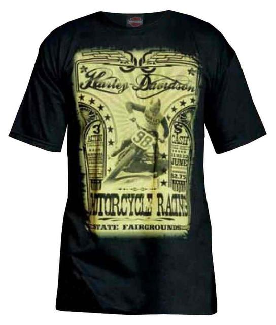 Harley-Davidson Men's Vintage Motorcycle Racing Poster Short Sleeve Tee, Black - Wisconsin Harley-Davidson