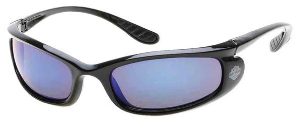 Harley-Davidson Men's Injected Bar & Shield Sunglasses, Black Frames & Blue Lens - Wisconsin Harley-Davidson