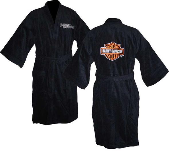 Harley-Davidson Men's Bar & Shield Lightweight Bath Robe, Black Bathrobe 87171 - Wisconsin Harley-Davidson