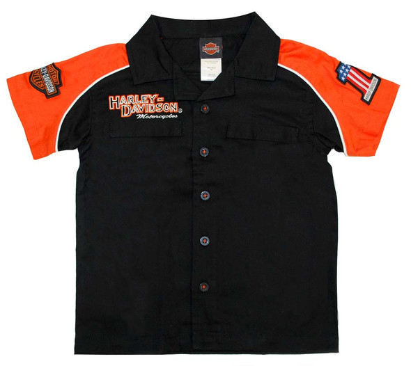 Harley-Davidson Little Boys' Orange Cotton Button Twill Pit Shirt 0381474 - Wisconsin Harley-Davidson