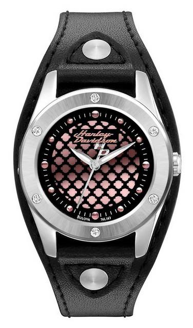Harley-Davidson Women's Bulova Pink Face Wrist Watch 76L163 - Wisconsin Harley-Davidson