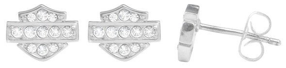 Harley-Davidson Women's Petite White Bling Bar & Shield Post Earrings HDE0282 - Wisconsin Harley-Davidson