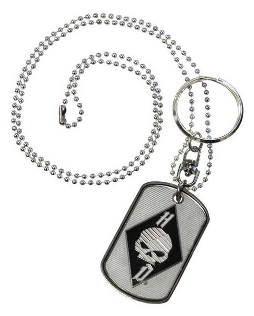 Harley-Davidson Flaming Willie G Skull Skull Dog Tag, Chain & Key Ring 8004897 - Wisconsin Harley-Davidson
