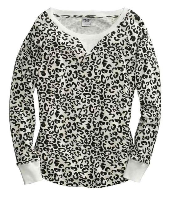 Harley-Davidson Women's Animal Print Thermal Sleep Shirt, Off-White 97832-16VW - Wisconsin Harley-Davidson
