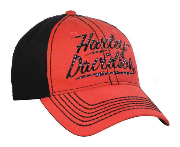 Harley-Davidson Women's Baseball Cap, Studded H-D Lightning, Coral BC10591 - Wisconsin Harley-Davidson
