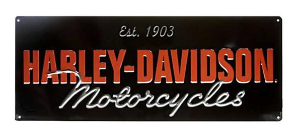 Harley-Davidson Embossed H-D Motorcycle Script Tin Sign, 18 x 7.125 inch 2010841 - Wisconsin Harley-Davidson