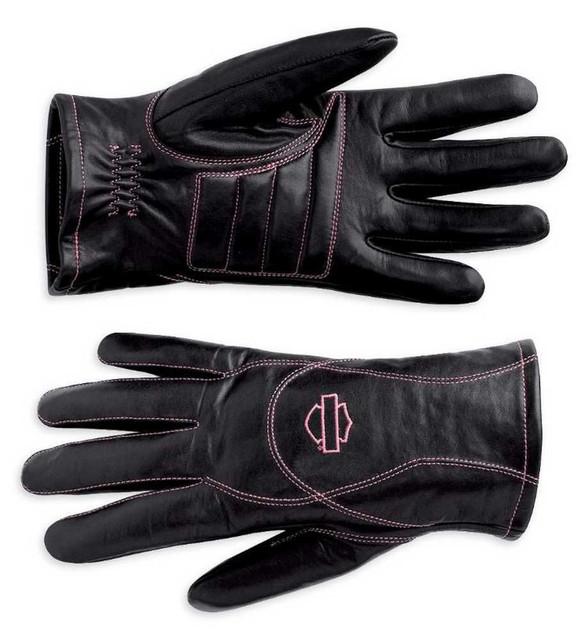 Harley-Davidson Women's Pink Label Full-Finger Riding Gloves, Black 98372-10VW - Wisconsin Harley-Davidson