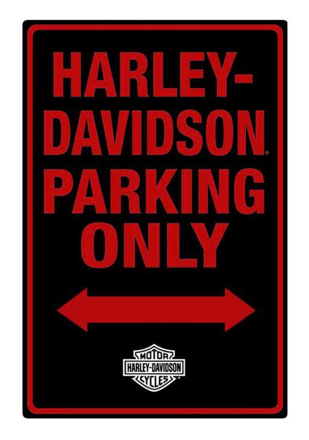 Harley-Davidson Tin Sign, H-D Embossed Parking Only Sign, Black 2010971 - Wisconsin Harley-Davidson