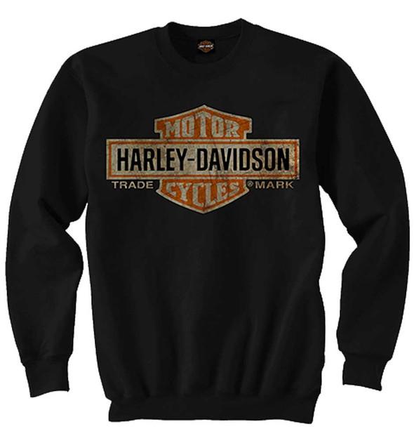 Harley-Davidson Mens Elongated Bar & Shield Crew Neck Pullover Sweatshirt, Black - Wisconsin Harley-Davidson