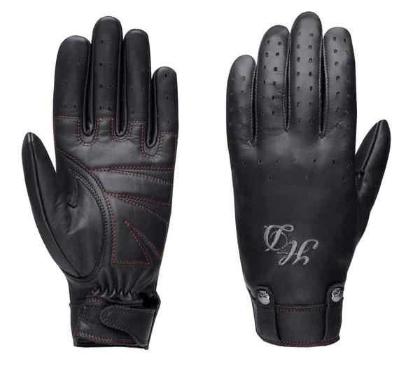 Harley-Davidson Women's Skull Rivet Full-Finger Leather Gloves, Black 98222-16VW - Wisconsin Harley-Davidson