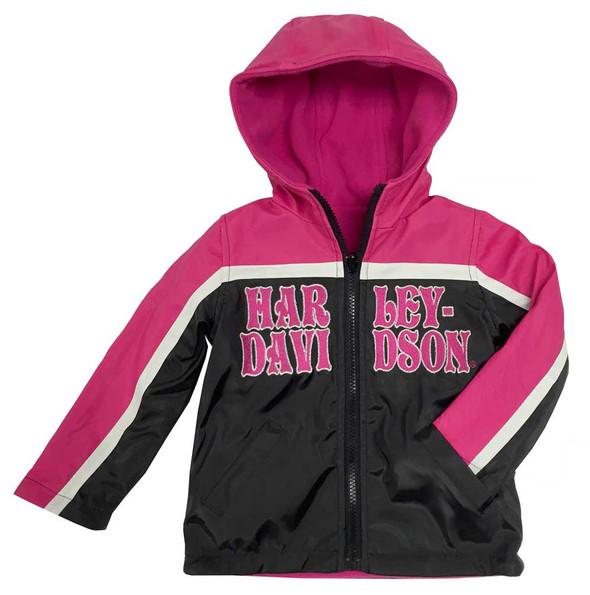 Harley-Davidson Little Girls' Embroidered Reversible Fleece Jacket, Pink 6034551 - Wisconsin Harley-Davidson