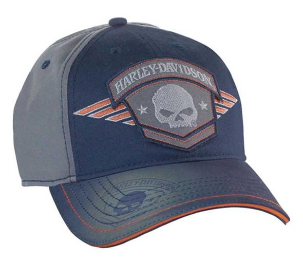 Harley-Davidson Mens Baseball Cap, Willie G Skull Badge, Navy & Charcoal BC09378 - Wisconsin Harley-Davidson