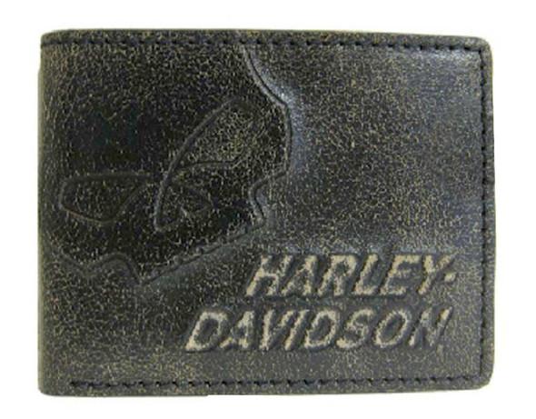 Harley-Davidson Men's Burnished Skull ID Pocket Wallet Leather BM2651L-TanBlk - Wisconsin Harley-Davidson