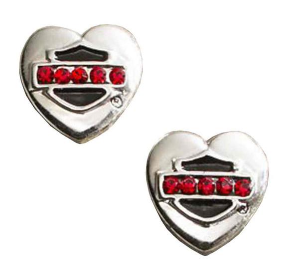 Harley-Davidson Women's Bar & Shield Rhinestone Stud Heart Earrings 97854-16VW - Wisconsin Harley-Davidson