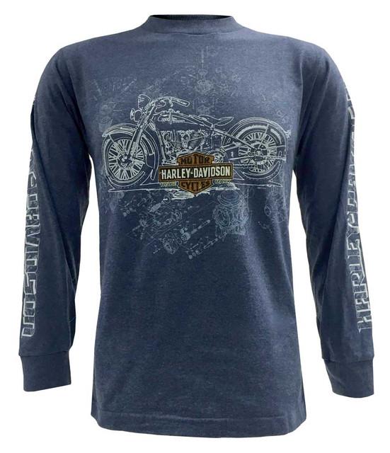 Harley-Davidson Men's Blue Print Motorcycle Parts Long Sleeve T-Shirt, Blue - Wisconsin Harley-Davidson