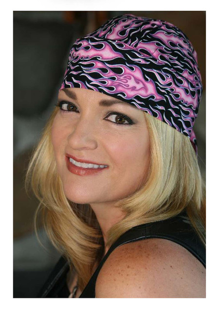 That's A Wrap Women's Fired Up Head Wrap, Black With Pink Flames HW1602 - Wisconsin Harley-Davidson