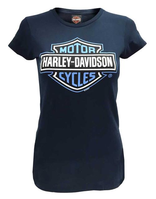 Harley-Davidson Women's Bar & Shield Short Sleeve T-Shirt, Navy Blue 30290604 - Wisconsin Harley-Davidson