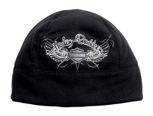 Harley-Davidson Women's Wing Wind-Resistant Fleece Beanie Hat, Black 99555-16VW - Wisconsin Harley-Davidson