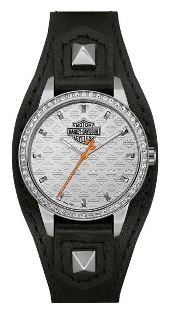 Harley-Davidson Women's Crystal Embellish Shaped Cuff Watch, Black/Silver 76L183 - Wisconsin Harley-Davidson
