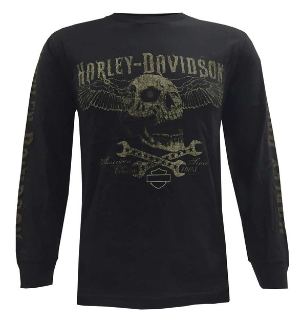 Harley-Davidson Men's Long Sleeve Shirt, Sepia Edgy Winged Skull, Black - Wisconsin Harley-Davidson