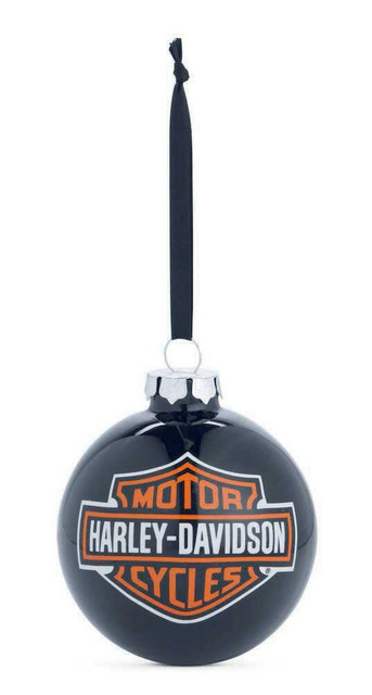 Harley-Davidson Bar & Shield Logo Ball Ornament, Black Christmas. 99204-14V - Wisconsin Harley-Davidson