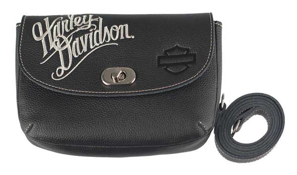 Harley-Davidson Women's Embroidered H-D Script Clip Hip Bag, ZWL3862-CRMBLK - Wisconsin Harley-Davidson