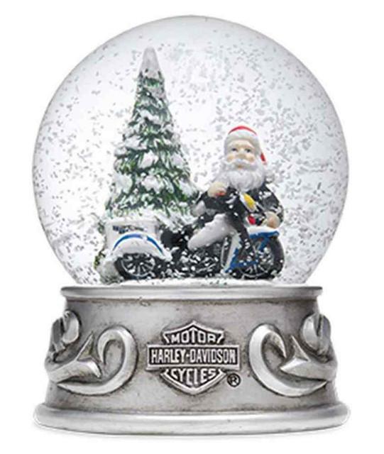 Harley-Davidson Large 2015 Biker Santa with Trademark B&S Snow Globe. 96816-16V - Wisconsin Harley-Davidson