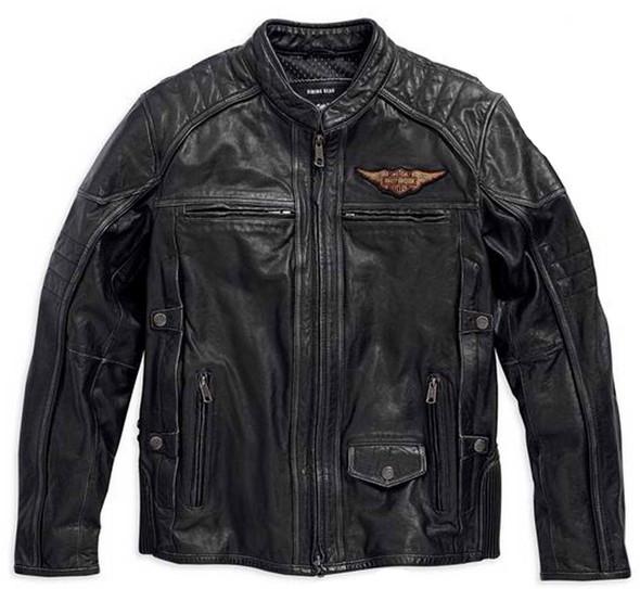 Harley-Davidson Men's Triple Vent Detonator Distressed Leather Jacket 98076-15VM - Wisconsin Harley-Davidson