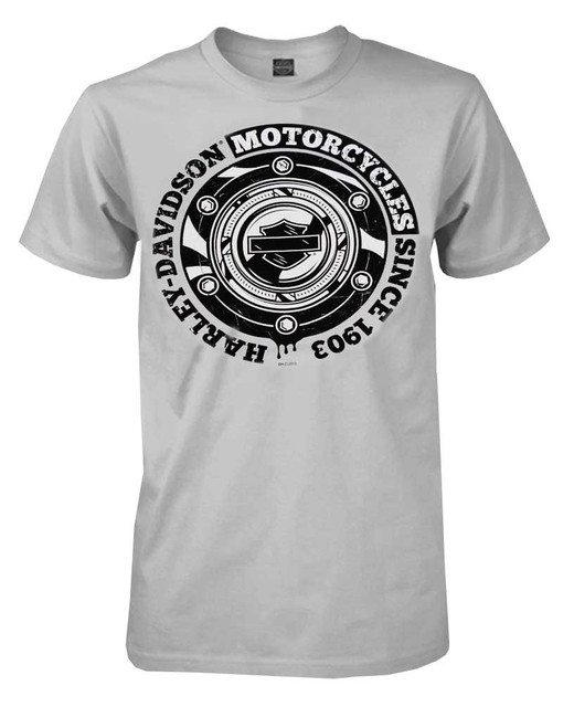 Harley-Davidson Men's T-Shirt, Gas Cap Short Sleeve Tee, Silver 30291801 - Wisconsin Harley-Davidson