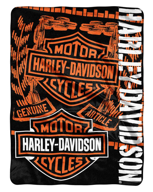 Harley-Davidson Gear Bar & Shield Raschel Throw Blanket, Black & Orange NW047129 - Wisconsin Harley-Davidson