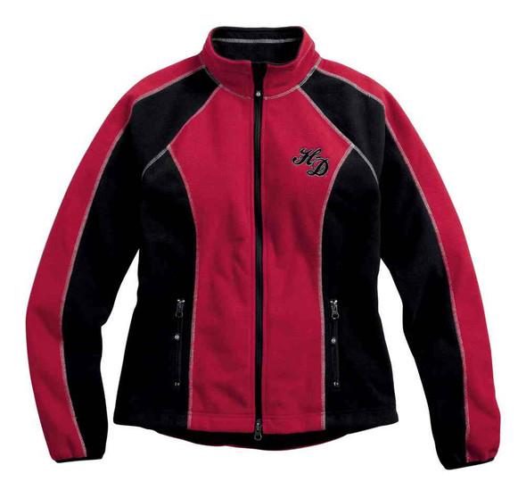 Harley-Davidson Women's Scroll Skull Windproof Fleece Jacket, Red 98574-16VW - Wisconsin Harley-Davidson