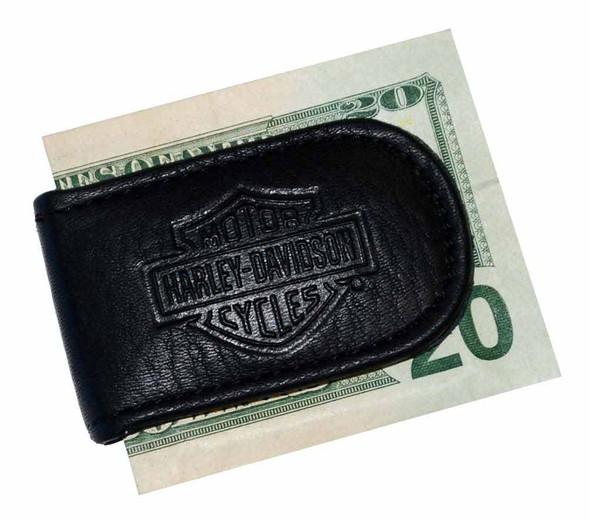 Harley-Davidson Men's Embossed Magnetic Money Clip Black Leather HD09-B - Wisconsin Harley-Davidson