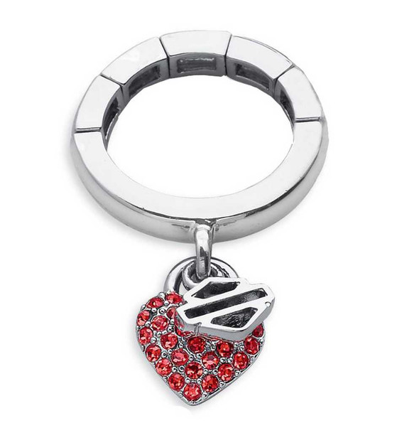 Harley-Davidson Women's Dangle Crystals Red Heart Stretch Ring 97635-14VW - Wisconsin Harley-Davidson