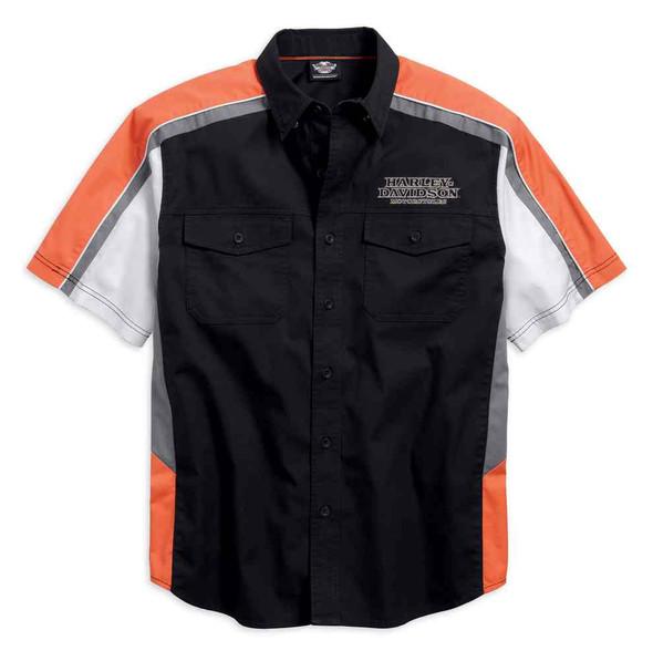 Harley-Davidson Men's Performance Vented Pinstripe Flames Shirt 99046-16VM - Wisconsin Harley-Davidson