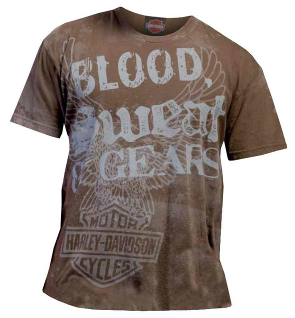 Harley-Davidson Men's Blood, Sweat & Gears Distressed Vintage T-Shirt, Brown - Wisconsin Harley-Davidson